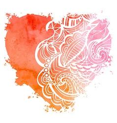 Abstract hand-drawn watercolor heart vector