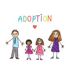 Adoptive family kids drawing vector
