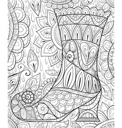 adult coloring bookpage a halloween boot on the vector image