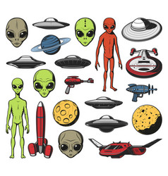 Aliens ufo and space shuttles retro icons vector