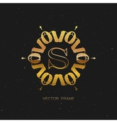 art-deco golden frame vector image