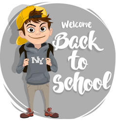 back to school text lettering with boy student vector image