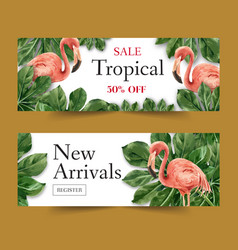 Banner design with tropical theme creative vector