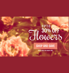 Beautiful flower sale banner template for vector