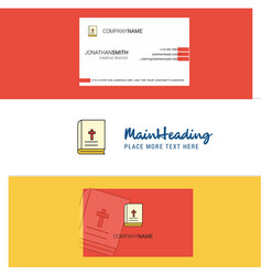 beautiful holy bible logo and business card vector image