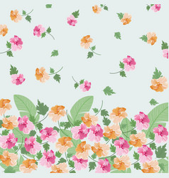 beautiful orange and pink floral with leaf pattern vector image