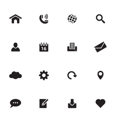 Black simple flat icon set 1 vector