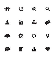 Black simple flat icon set 1 vector