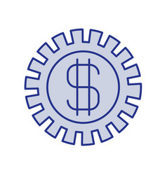Blue silhouette of pinion with money symbol vector
