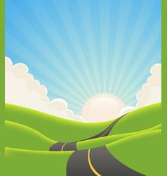 Blue summer landscape road vector