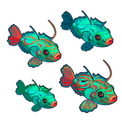 cartoon green fish with red ornaments isolated on vector image