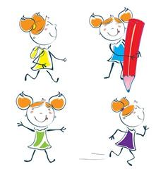 cartoon little schoolgirl vector image