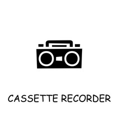 Cassette recorder flat icon vector
