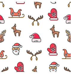 christmas theme seamless pattern set symbols vector image