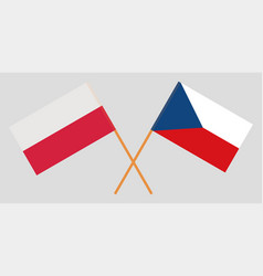 Crossed flags of czech republic and poland vector
