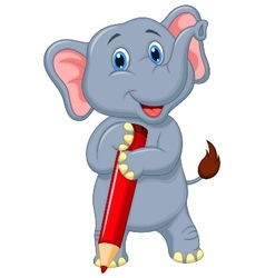Cute elephant cartoon holding red pencil vector image