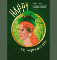 cute red-haired girl in a green leprechaun hat vector image