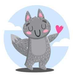 cute wolf hand drawn icon vector image