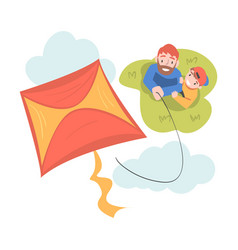 Dad and his son playing kite outdoors top view of vector