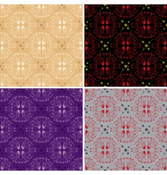dark and light seamless floral patterns vector image