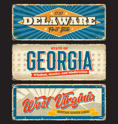 delaware georgia and west virginia states plates vector image