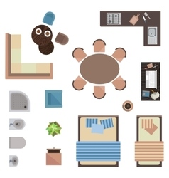 different interior icons top view isolated vector image