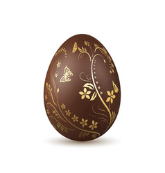 Easter egg 3d icon chocolate brown egg isolated vector