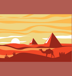 Egyptian pyramids and camel in desert african vector