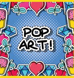 Fachion pop art patch background design vector