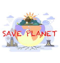 Factories pollute land destruction ecology vector