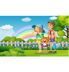 Family in the park on rainbow day vector
