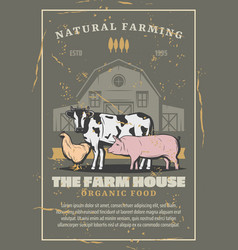 Farm house with livestock animals vector