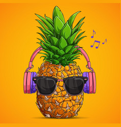 fashion pineapple with sunglasses and headphones vector image