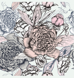 fashion seamless pattern with hand drawn peony vector image