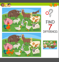 find differences game with farm animals vector image