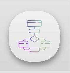 Flow diagram app icon flowchart process vector