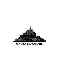 France mont saint michel and its bay flat travel vector