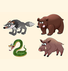 Funny angry forest animals vector