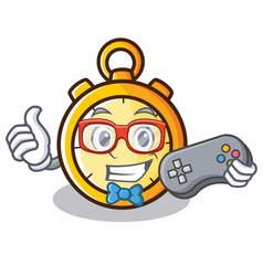 Gamer chronometer character cartoon style vector