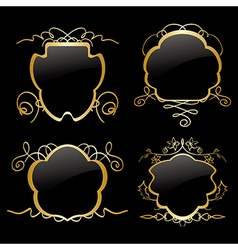 gold frames with gold decorations - set vector image