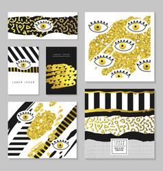 Golden glitter hand drawn set for invitations vector