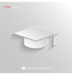 Graduation cap icon - white app button vector image
