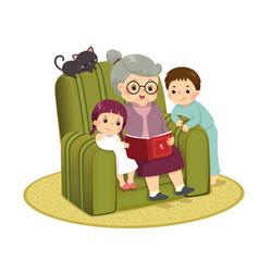 Grandma telling story to her grandchildren vector