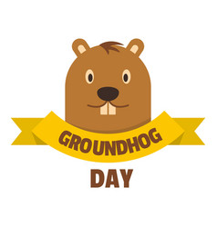 groundhog day icon flat style vector image