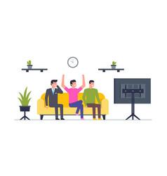 group happy men watching tv vector image