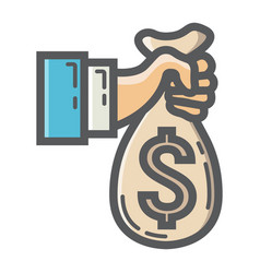 Hand holding money bag filled outline icon vector