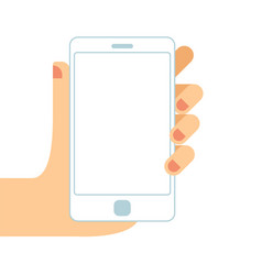 hand holding white smartphone touching blank vector image
