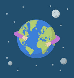 Hands hug earth globe vector