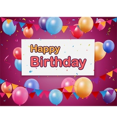 Happy birthday celebration with colorful balloon vector image