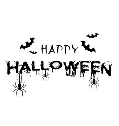 happy halloween bats spiders white background vect vector image